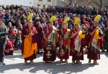 Monks performing prayers during Dhosmoche Mela in Leh. —Excelsior/Morup Stanzin