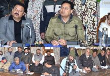 Commissioner Secretary, School Education Hirdesh Kumar interacting with delegations in Srinagar on Wednesday.