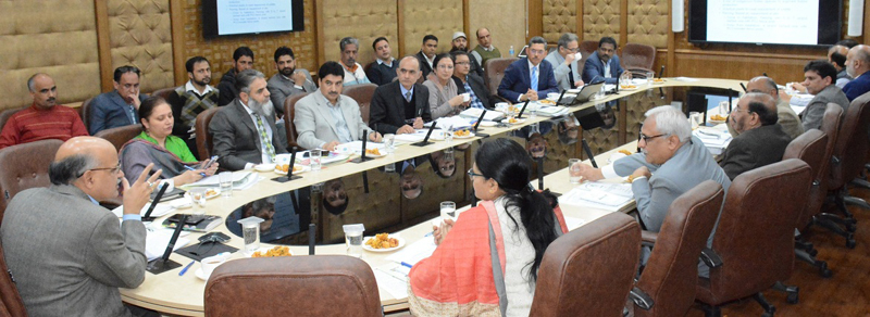 Chief Secretary chairing a meeting at Jammu on Thursday.
