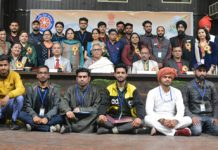 Advisor Farooq Khan, VC JU Prof Manoj Dhar and participants of National Integration Camp posing for group photograph.
