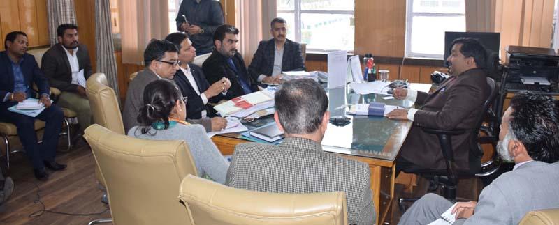 Principal Secretary Housing Dheeraj Gupta chairing a meeting on Thursday.