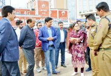 Deputy Commissioner Jammu Sushma Chauhan during tour of Jammu City on Wednesday.