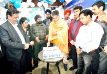 Ravinder Raina, President BJP J&K inaugurating 3M Home Water Filtration Brand Store at Jammu on Sunday.