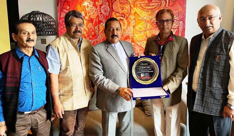Union Minister Dr Jitendra Singh being felicitated by a public delegation led by BJP leader and MLA, Shiladitya Dev and Retired IAS officer Swapnil Baruah, at Guwahati, Assam on Tuesday.