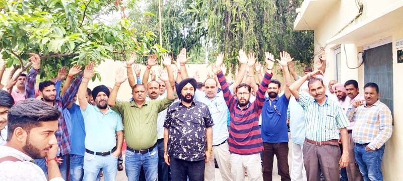 PDD employees staging protest in Jammu on Thursday.