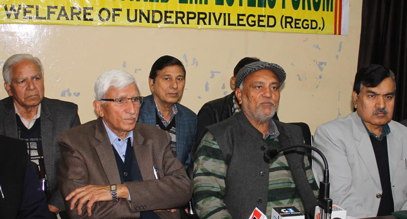 SC/ST Retd Employees Forum members addressing joint press conference in Jammu. — Excelsior/Rakesh