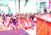 NPP leader Harsh Dev Singh addressing public meeting in Domana.
