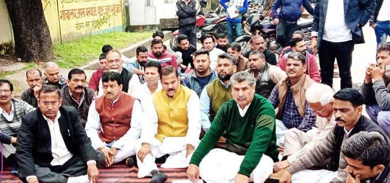 NPP workers staging protest outside SDM office at Hiranagar.