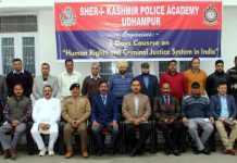 Director, Police Academy Udhampur, Dr S D Singh along with other officers and participants at 3-day course on Human Rights and Criminal Justice System.