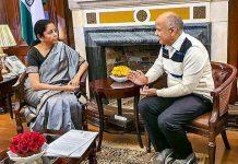 Delhi Dy CM Manish Sisodia meets Union Finance Minister Nirmala Sitharaman after taking charge as Delhi's Finance Minister, in New Delhi on Friday.