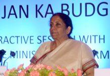 "Union Finance Minister Nirmala Sitharaman during the interactive session of the ""Jan Jan Ka Budget"" programme in Kolkata today. (UNI)"