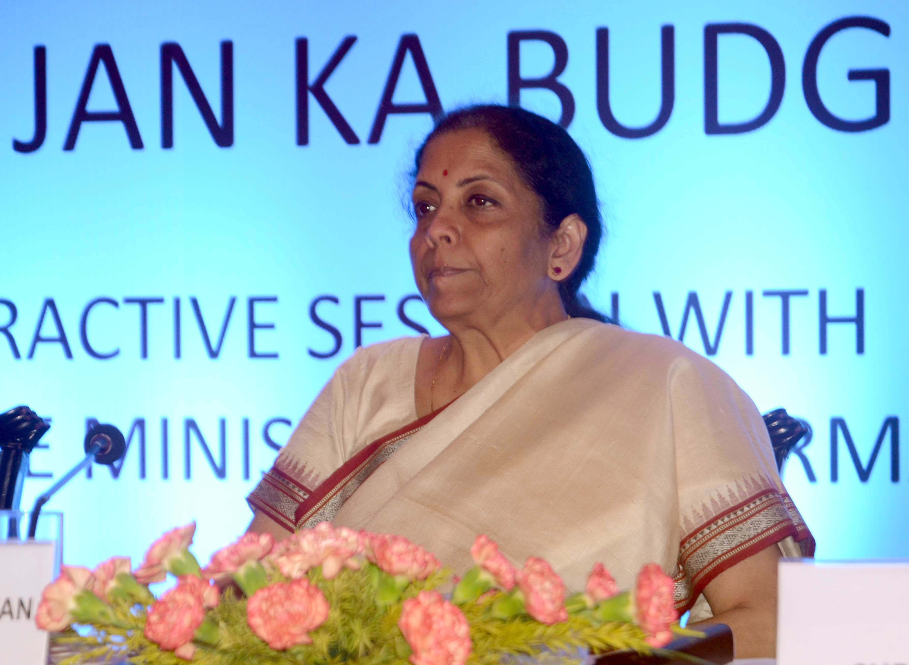 Union Finance Minister Nirmala Sitharaman during the interactive session of the