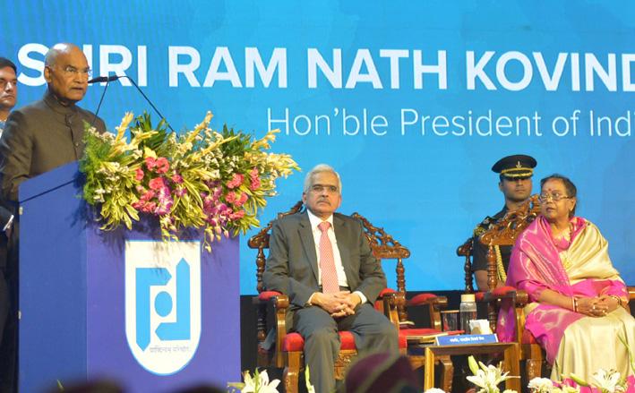 President, Ram Nath Kovind addressing at the Golden Jubilee celebrations of the National Institute of Bank Management (NIBM), in Pune on Wednesday.