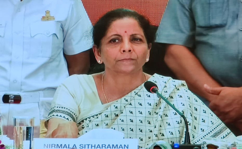 Union Finance Minister Nirmala Sitaraman addressing during interacting with various stakeholders Opinion Makers and reviewing their suggestion on Budget 2020 in Hyderabad on Sunday. (UNI)