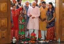 Rashtriya Swayamsevak Sangh (RSS) chief Mohan Bhagwat offer prayers during the inauguration ceremony of new Gujarat State Headquarter building in Ahmedabad.