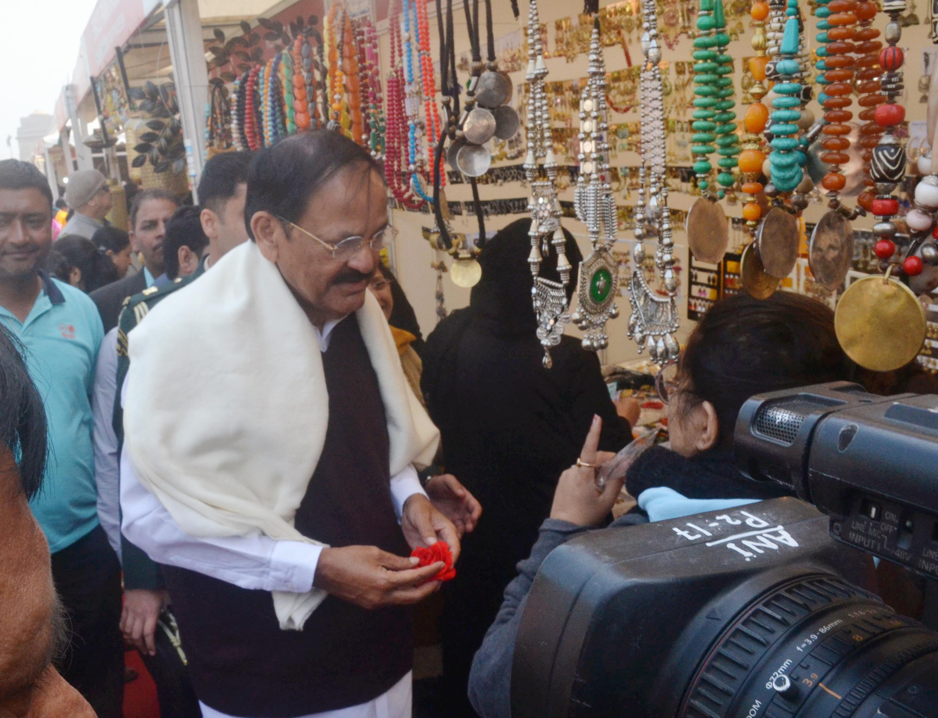 Vice President M Venkaiah Naidu visiting ongoing 'Hunar Haat' at India Gate Lawns in New Delhi on Thursday. (UNI)