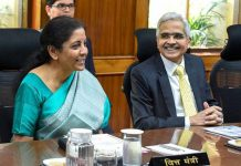 Finance Minister Nirmala Sitharaman (L) and RBI Governor Shaktikanta Das (R) at RBI central board of directors in a customary post-budget meeting, in New Delhi on Saturday.