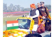 Union Home Minister Amit Shah inspecting gaurd of honor during the 73rd Raising Day Parade of the Delhi Police at New Police Line, Kingsway Camp, in New Delhi on Sunday. (UNI)