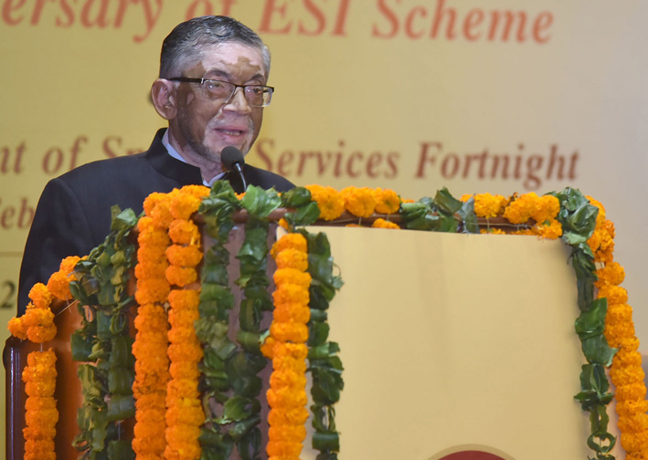 Minister of State for Labour and Employment (Independent Charge), Santosh Kumar Gangwar addressing the gathering at the 68th Anniversary Celebration of ESIC, in New Delhi on Tuesday.