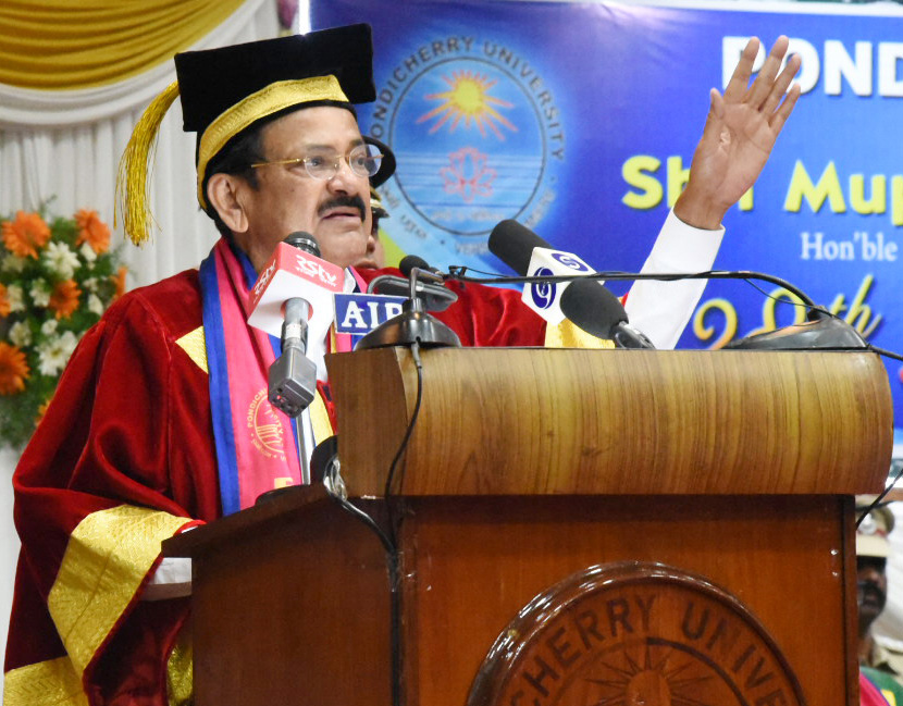 Vice President, M. Venkaiah Naidu addressing the gathering at the 28th Annual Convocation of Pondicherry University, in Puducherry on Wednesday.