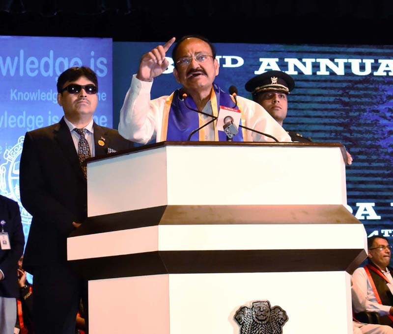 Vice President M Venkaiah Naidu addressing the gathering at the 32nd Convocation of Goa University, in Panaji on Monday. (UNI)