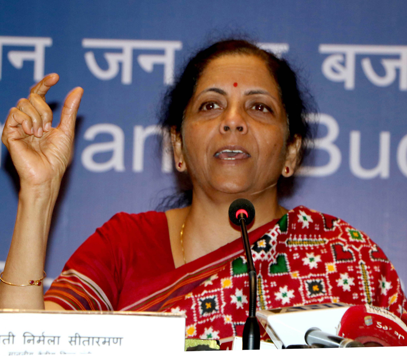 Union Minister for Finance and Corporate Affairs Nirmala Sitharaman speaking on Budget 2020-21, in Mumbai on Friday. (UNI)