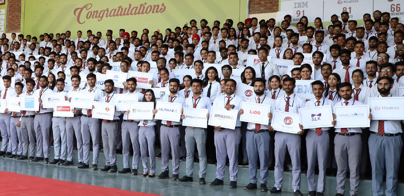 Students of J&K Union Territory at Chandigarh University posing for a group photograph after getting placement offers from top-notch multinational companies.