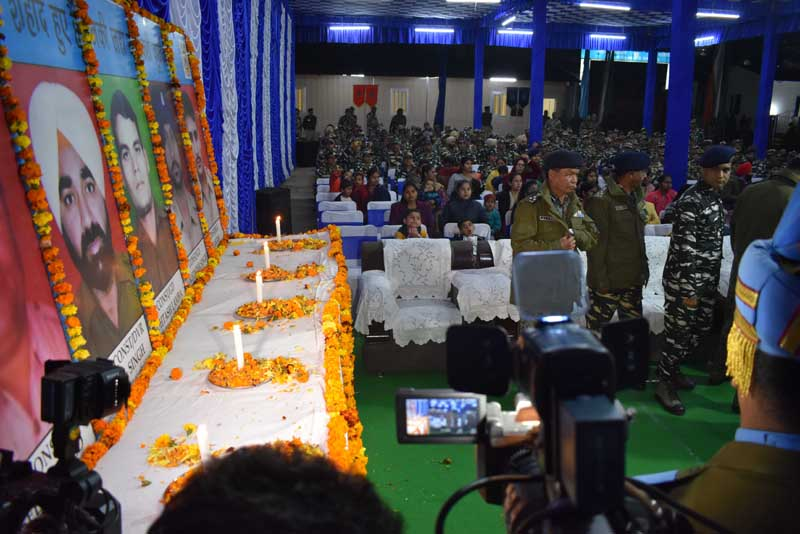 Officers and Jawans of 76 Battalion CRPF paying tributes to Pulwama martyrs in a function at Battalion Headquarters.