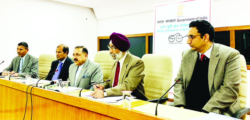 Union Minister Dr Jitendra Singh briefing the media about budget allocations for Northeast, at New Delhi.