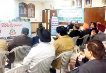 A resource person addressing the gathering during a CME organized by Amandeep Group of Hospitals.