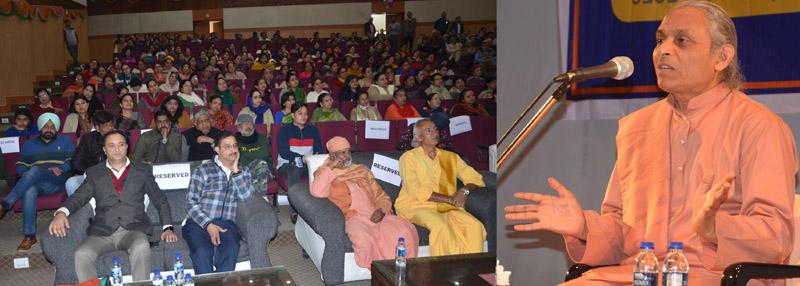 Swami Smaranananda Giri addressing the gathering in Jammu on Thursday.