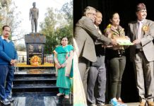 Parents paying tributes to martyr Captain Tushar Mahajan at T-Morh Udhampur (Left); dignitaries honouring Sahira Mahajan for donating Rs 1.50 lakh to Bharat Ke Veer by selling cup cakes.