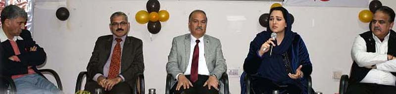 DIPR Director Dr Syed Sehrish chairing panel discussion at Jammu University on Saturday.