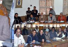 Secretary PHE A K Sahu interacting with deputations on Tuesday.