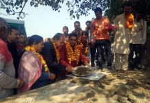 Mayor JMC, Chander Mohan Gupta kick starting development work at Gorkha Nagar, Jammu on Tuesday.