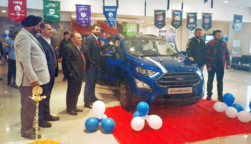 Officials of Tawi Ford launching updated Ford EcoSport at Jammu on Saturday.