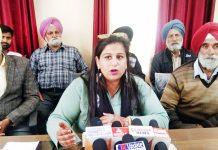 Sarpanch Reena Choudhary talking to reporters at Samba on Friday. -Excelsior/ Badyal