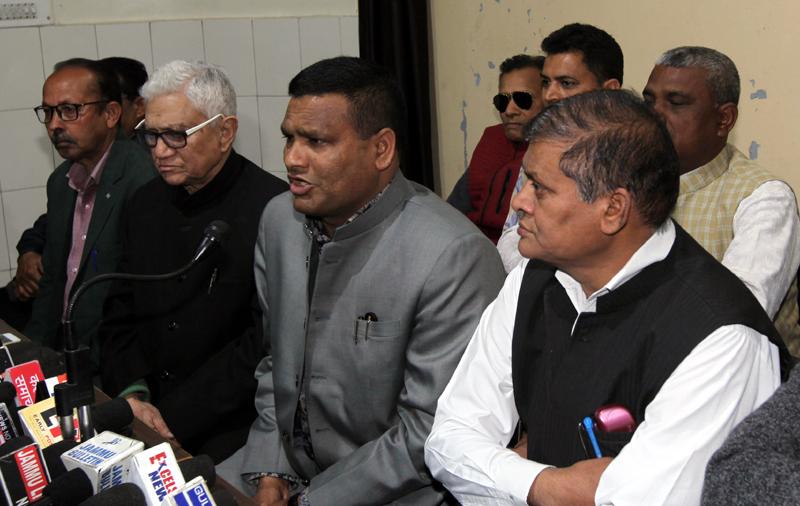 Office bearers of All J&K Mahasha Sadar Sabha during a press conference at Jammu. -Excelsior/Rakesh