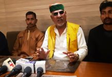 President of Ex-serviceman State Dairy Co-operative addressing a press conference at Jammu on Sunday.