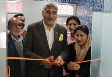 Former minister and senior BJP leader, Sham Lal Sharma inaugurating Medispa in Jammu on Thursday.
