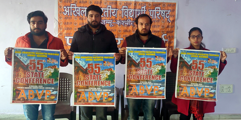 ABVP leaders launching poster for 55th ABVP J&K Conference at Jammu on Saturday.