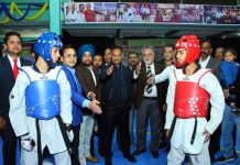 DG Sports, Dr Saleem-ur- Rehman inaugurating J&K Taekwondo Championship at JU Gymnasium on Friday.