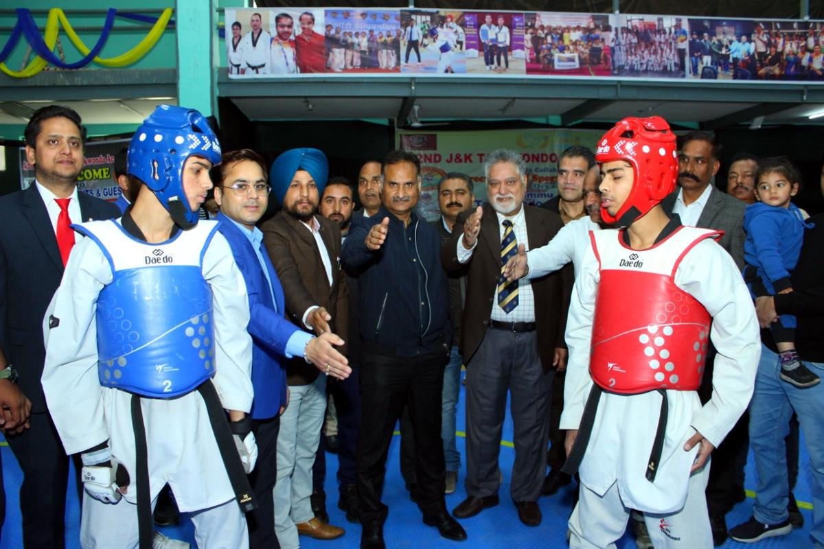 DG Sports, Dr Saleem-ur- Rehman inaugurating J&K Taekwondo Championship at JU Gymnasium on Friday.