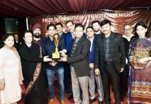Memento presentation during a felicitation ceremony at Jammu Club.