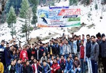 Participants posing along with organizers & officals during inauguration of winter games.