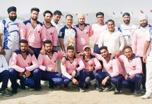 Teams posing for a group photograph along with DG Sports, Dr Saleem-ur-Rehman at Khel Gaon, Nagrota in Jammu.