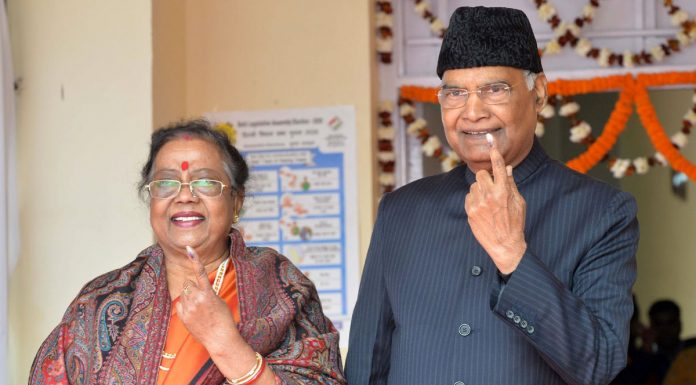 President, Ram Nath Kovind and Mrs Savita Kovind showing mark of indelible ink after casting their votes at a polling booth at Dr Rajendra Prasad Kendriya Vidyalaya in Rashtrapati Bhavan Complex in New Delhi on Saturday.