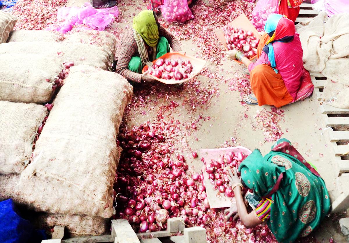Vegetables being sold at Narwal Sabzi Mandi on Friday. -Excelsior/ Rakesh