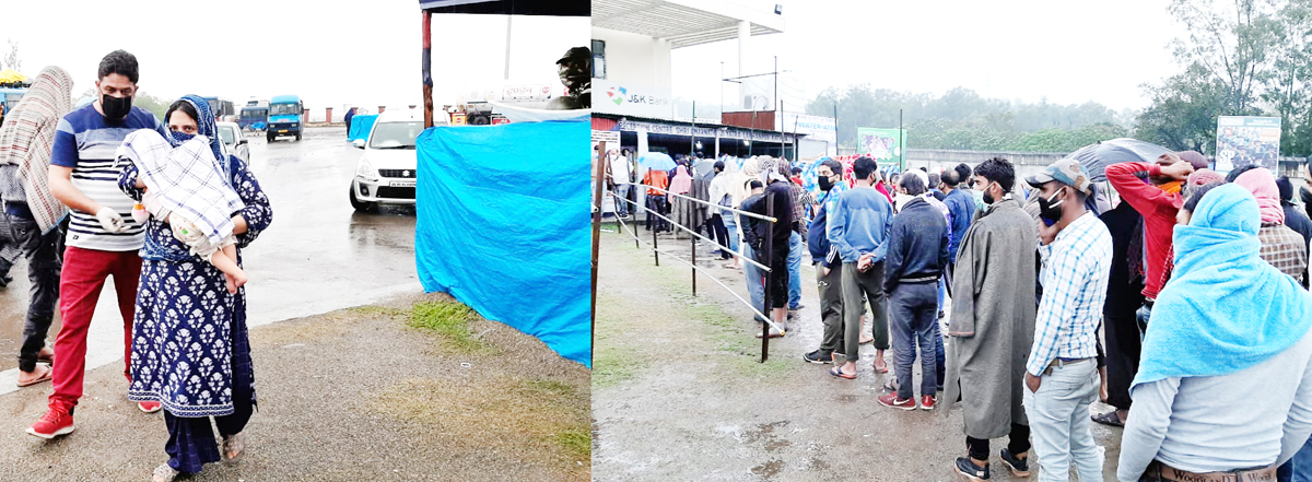 A lady with a child waiting for quarantine (left) people standing in long queues (right) at Lakhanpur on Friday. -Excelsior/Pardeep