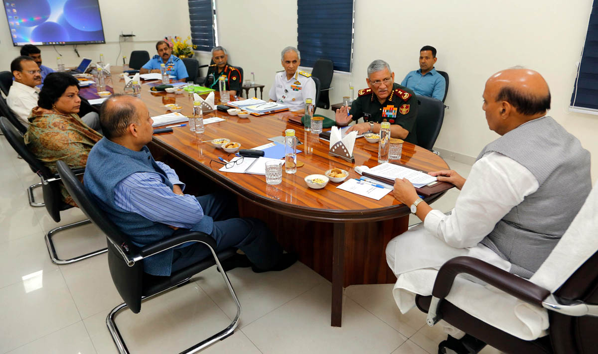 Defence Minister Rajnath Singh holding a high-level review meeting on action plan of Ministry of Defence to deal with COVID-19, in New Delhi on Thursday. (UNI)